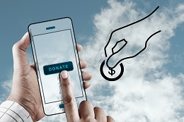 Hand Using Mobile to Donate Money, Mobile Performance Concept