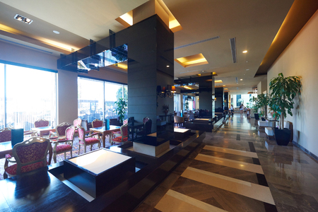 44369985 - luxury business hotel lobby interior with modern design